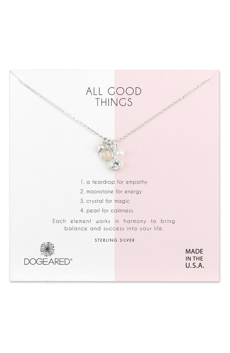 DOGEARED All Good Things Moonstone Pendant Necklace, Main, color, 040