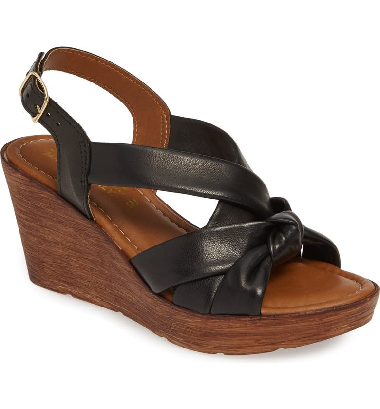 BELLA VITA Italy Wedge Sandal, Main, color, BLACK ITALIAN LEATHER