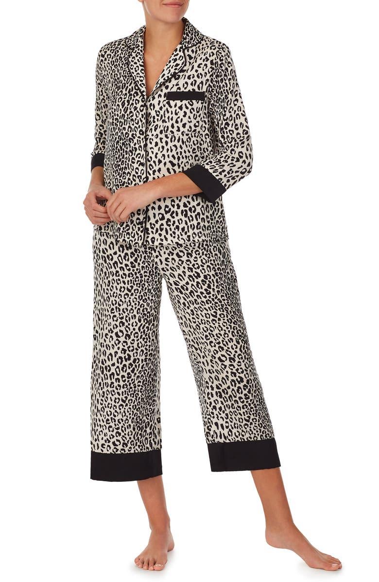KATE SPADE NEW YORK animal print crop pajamas, Main, color, LEOPARD SPOTS