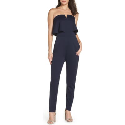 Fraiche By J Strapless Jumpsuit, Blue