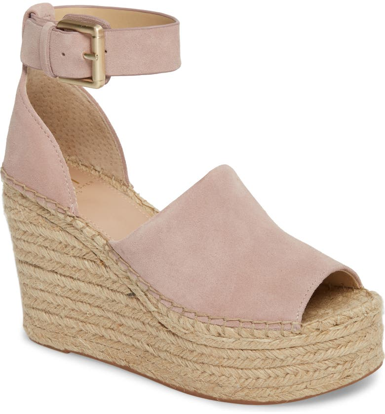 MARC FISHER LTD Adalyn Espadrille Wedge Sandal, Main, color, BLUSH SUEDE