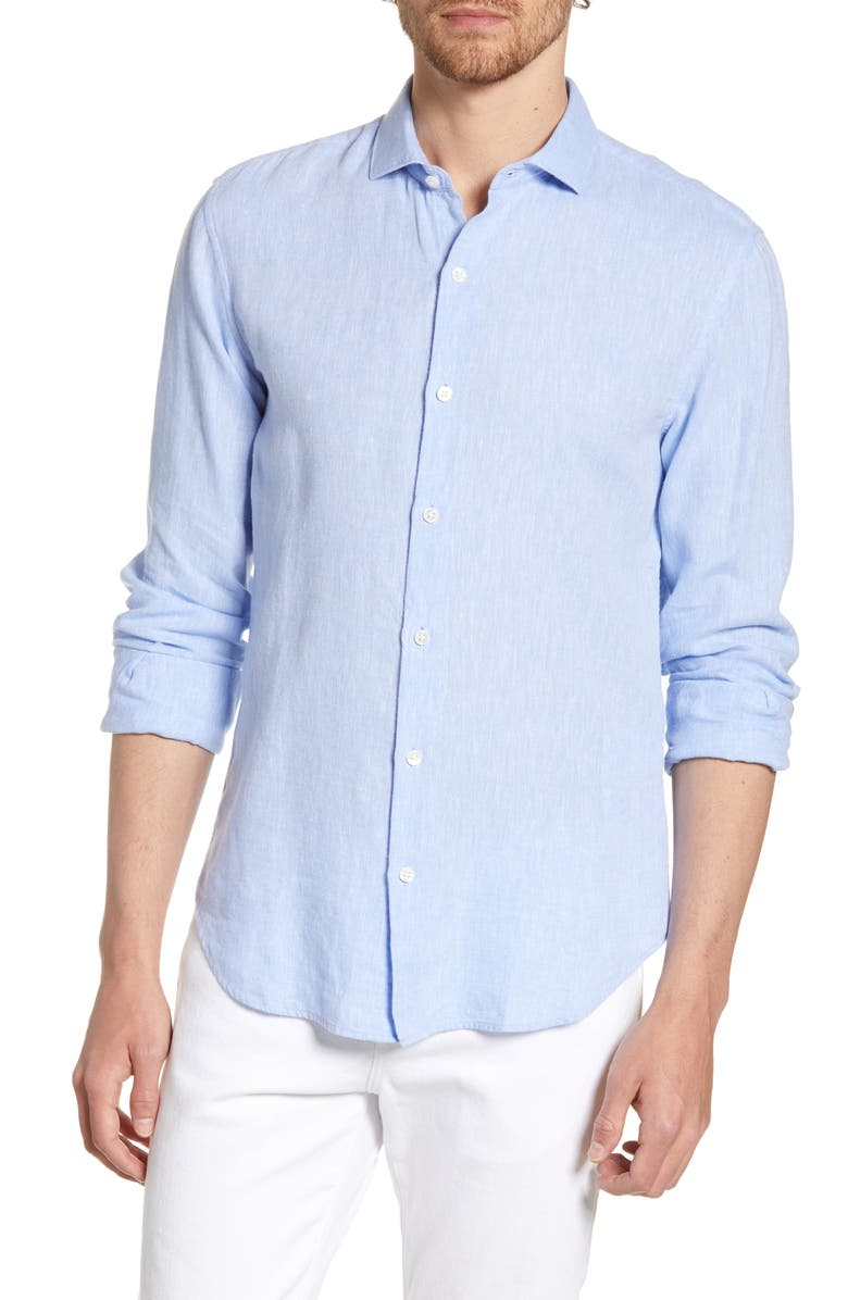 BONOBOS Unbutton Down Slim Fit Linen & Cotton Sport Shirt, Main, color, 400