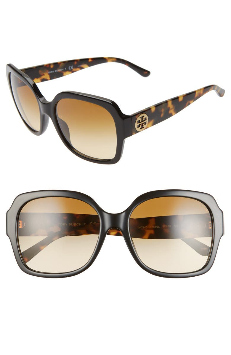 TORY BURCH 57mm Square Sunglasses, Main, color, BLACK/ BROWN GRADIENT
