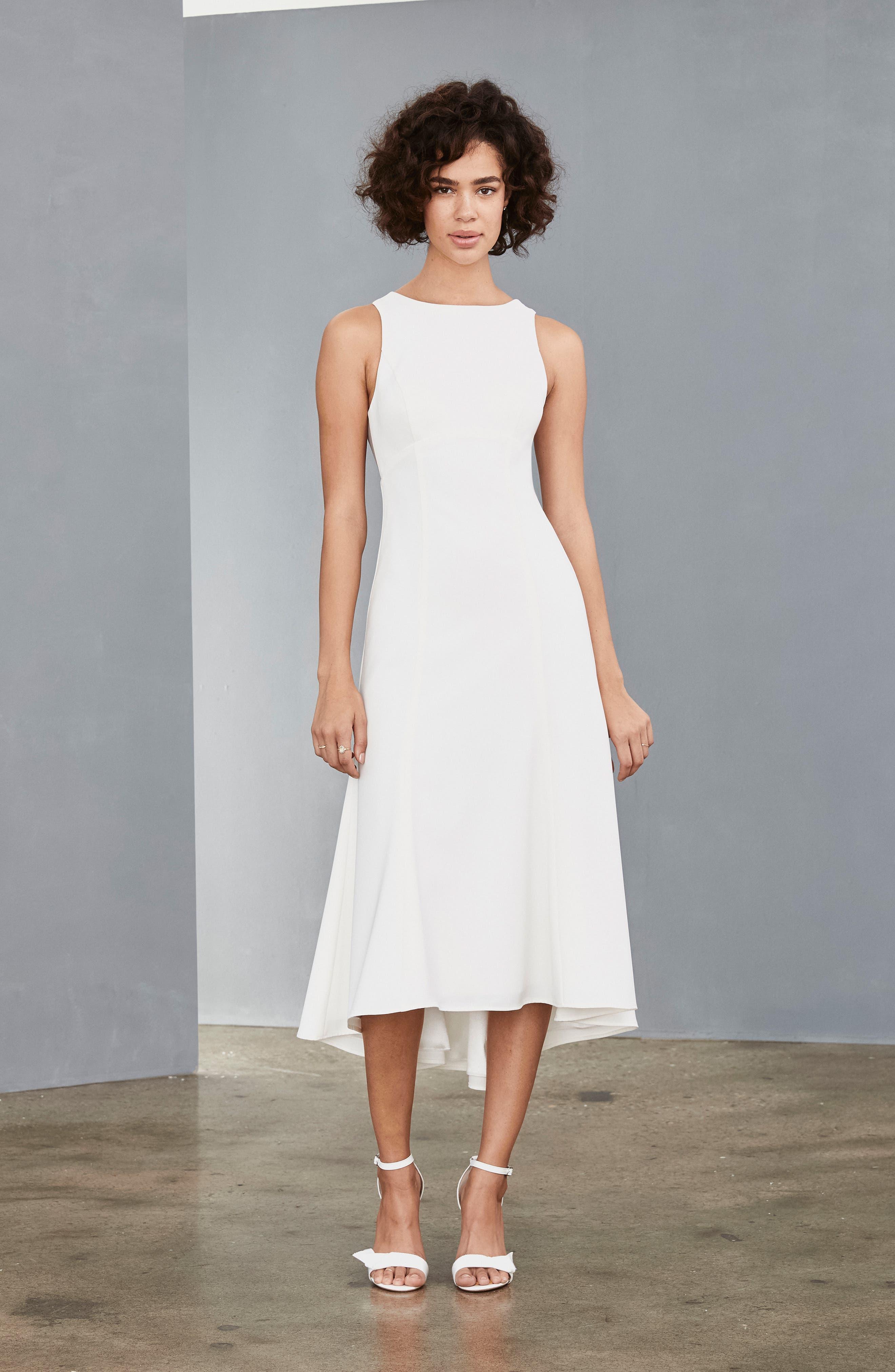 Amsale Mesh Back Crepe Tea Length Dress, Ivory