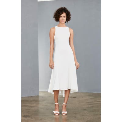 Amsale Mesh Back Crepe Tea Length Dress, Ivory