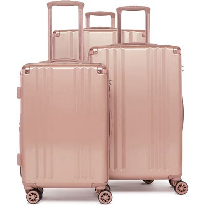 Calpak Ambeur 3-Piece Metallic Luggage Set - Pink