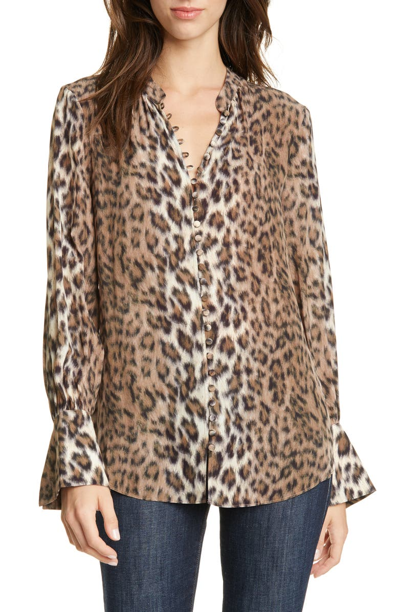 JOIE Tariana Leopard Blouse, Main, color, LIGHT TAUPE