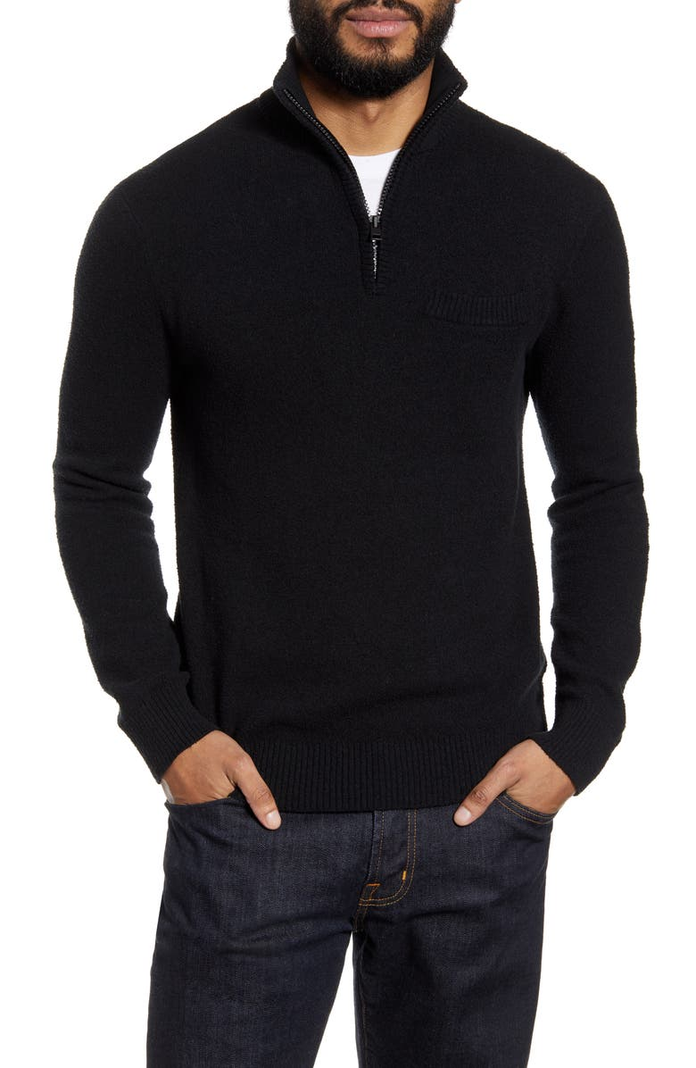 CLUB MONACO Quarter Zip Bouclé Sweater, Main, color, BLACK