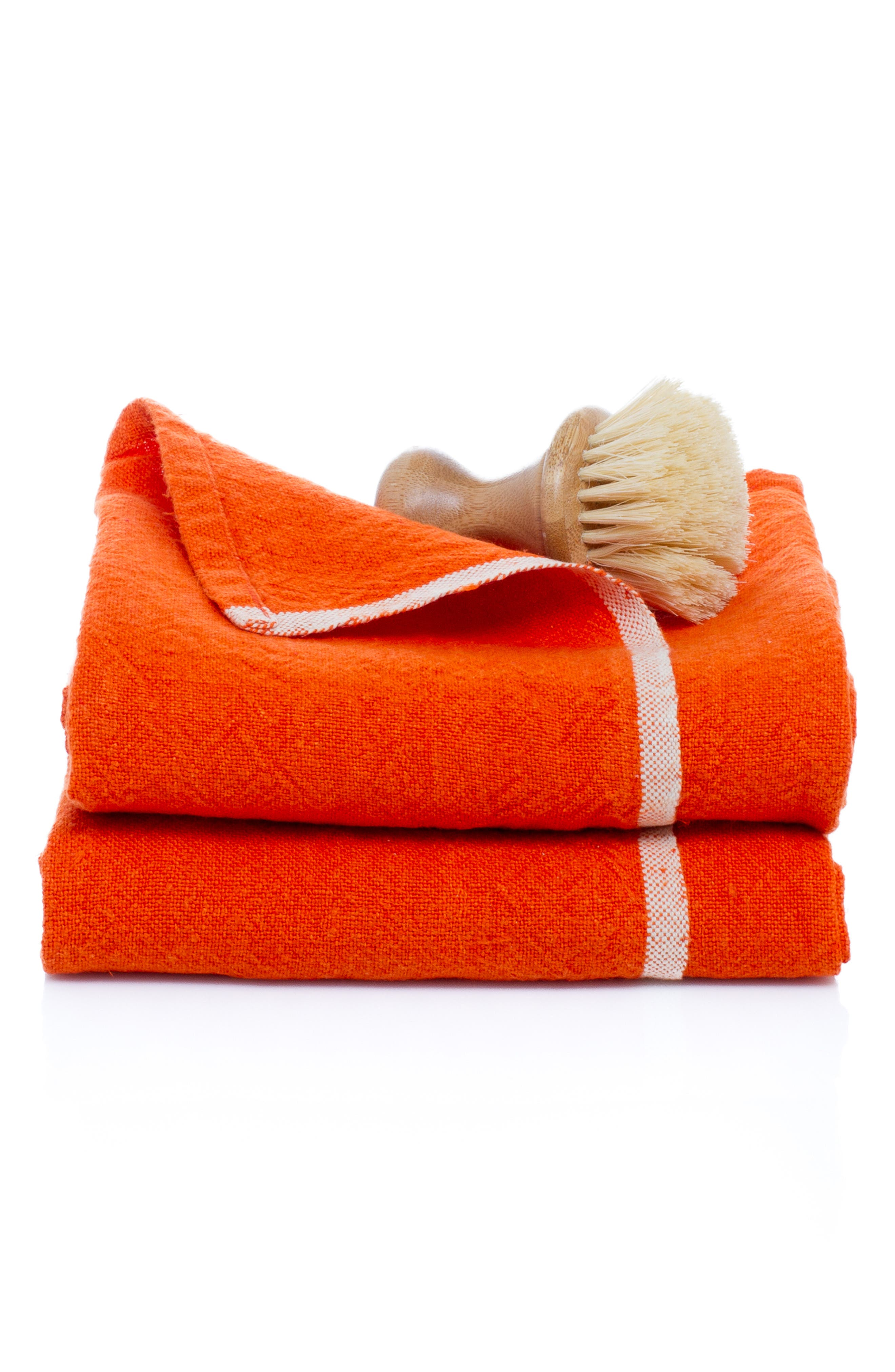 Caravan Set Of 2 Chunky Linen Hand Towels Size One Size  Orange
