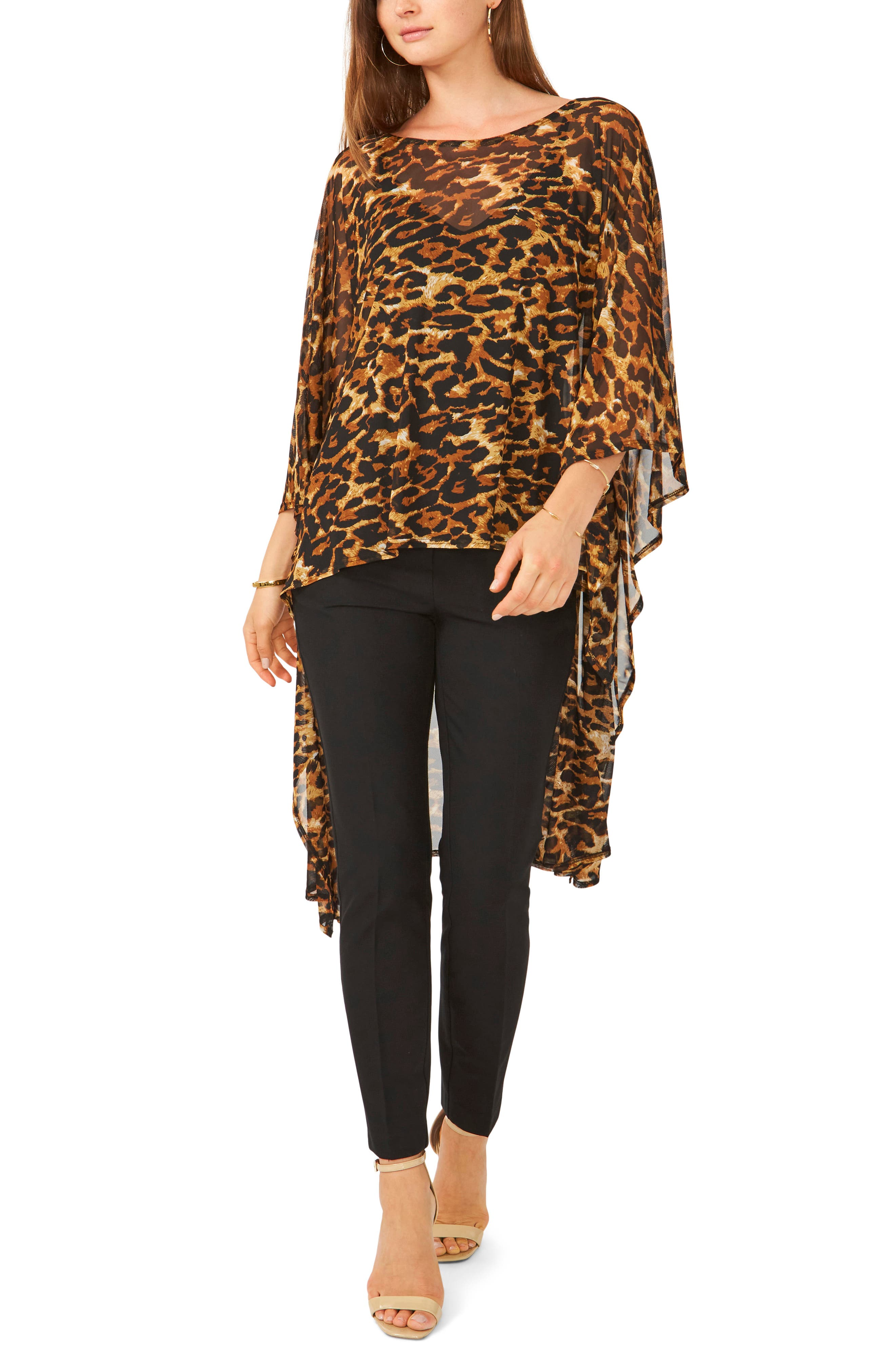 Leopard Print High-Low Tunic Top