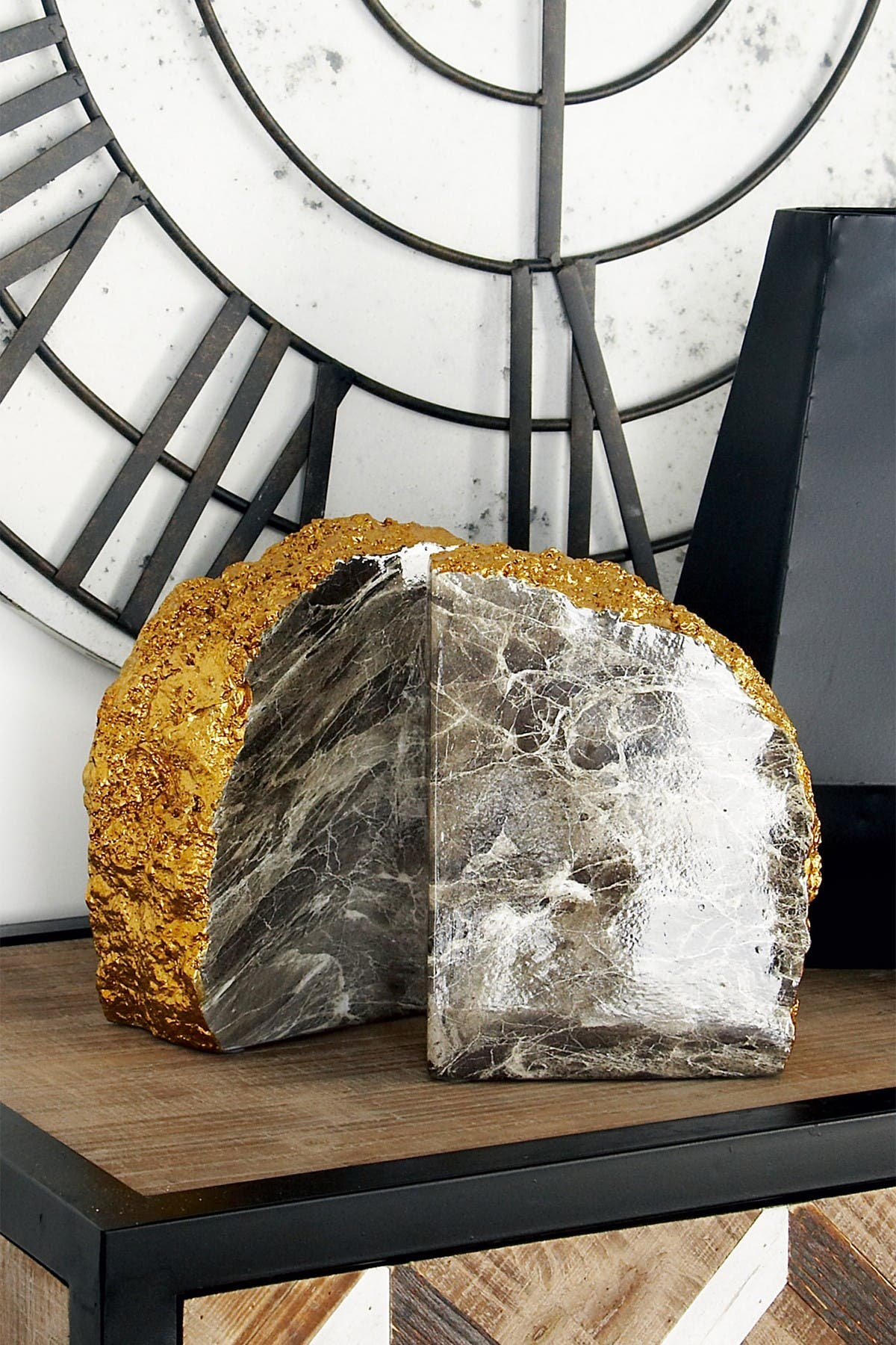 Image of CosmoLiving by Cosmopolitan Large Metallic Gold, Gray & White Marble Faux Thunder Egg Stone Bookends