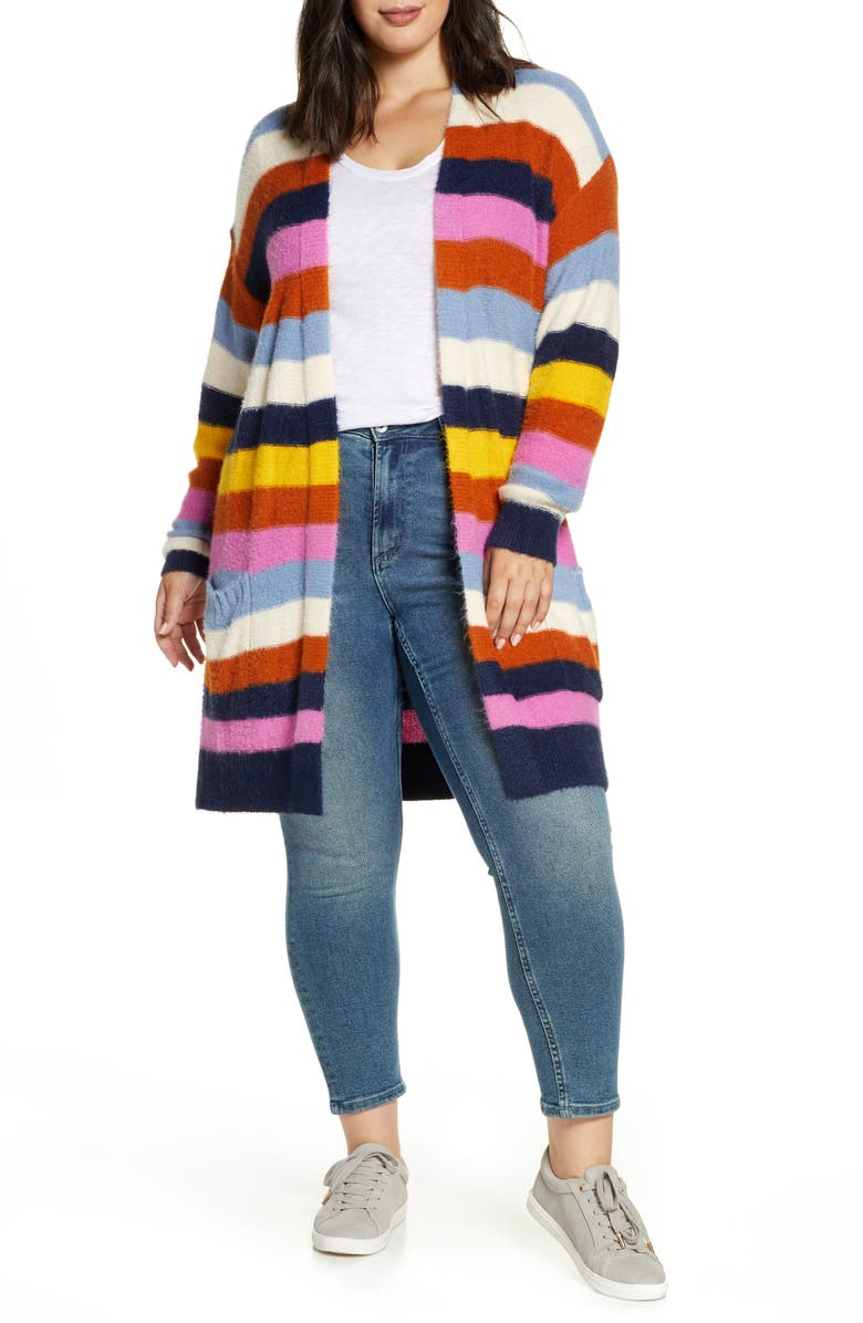 CASLON<SUP>®</SUP> Fluffy Cardigan, Main, color, NAVY PINK COZY STRIPE