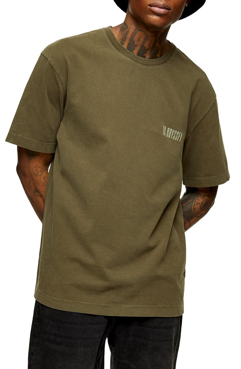 TOPMAN TX Odyssey Graphic Tee, Main, color, OLIVE