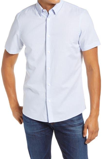 Image of NORDSTROM MEN'S SHOP Regular Fit Stripe Short Sleeve Button-Up Shirt