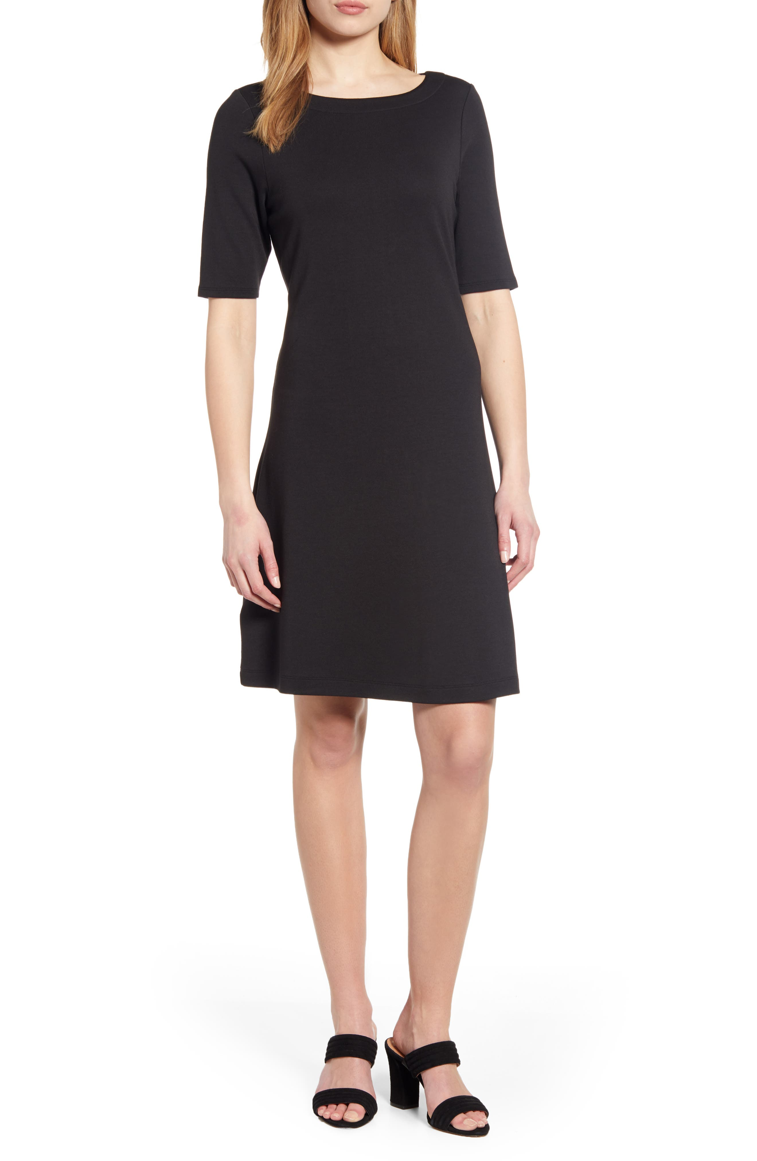 Tommy Bahama Drapey Elbow Sleeve Ponte Dress, Black