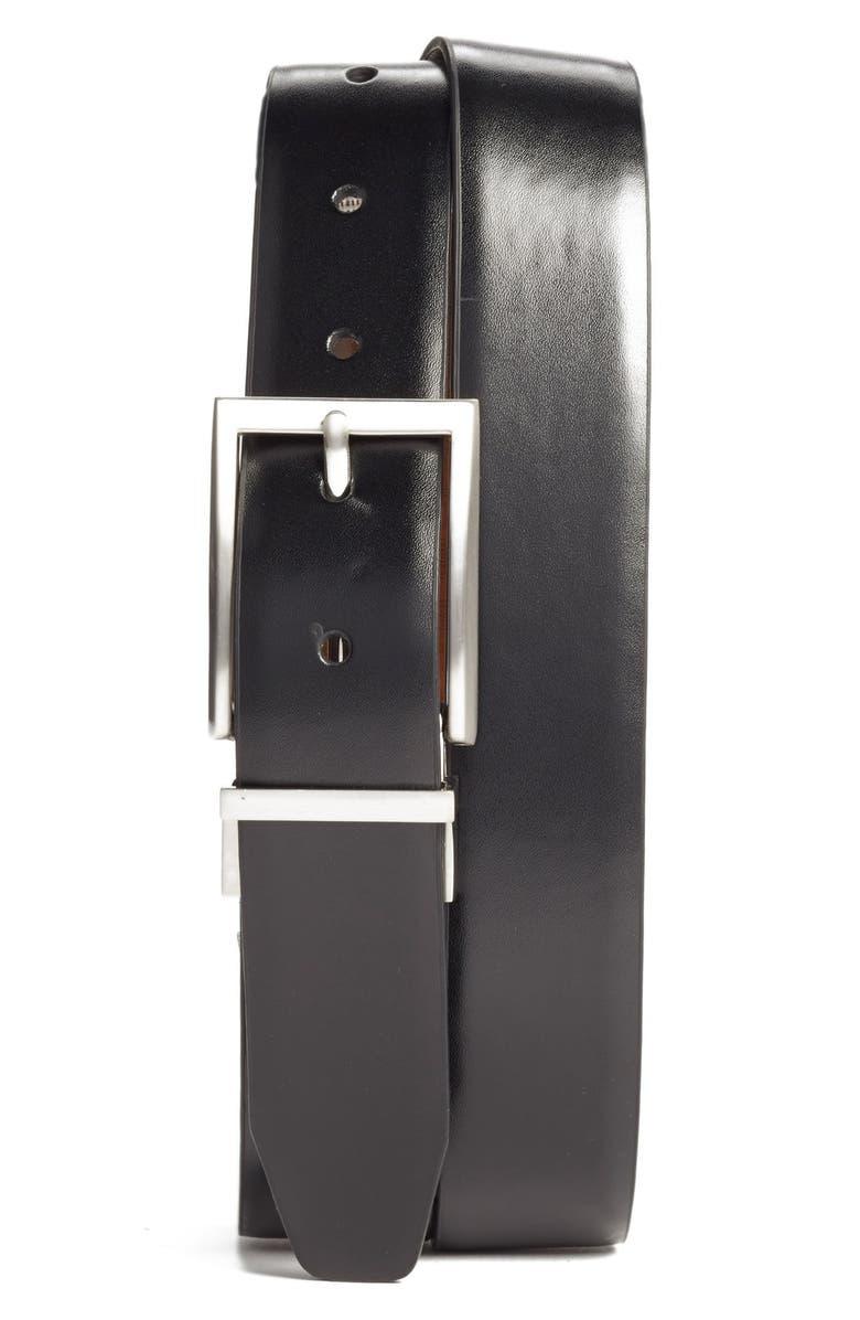 NORDSTROM MEN'S SHOP Reversible Leather Belt, Main, color, BLACK/ BROWN