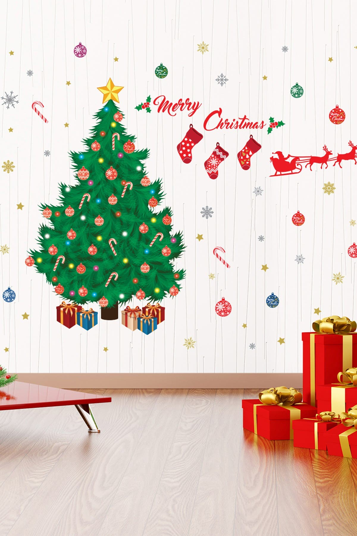 Image of WalPlus Traditional Christmas Tree Multicolor Decoration Set