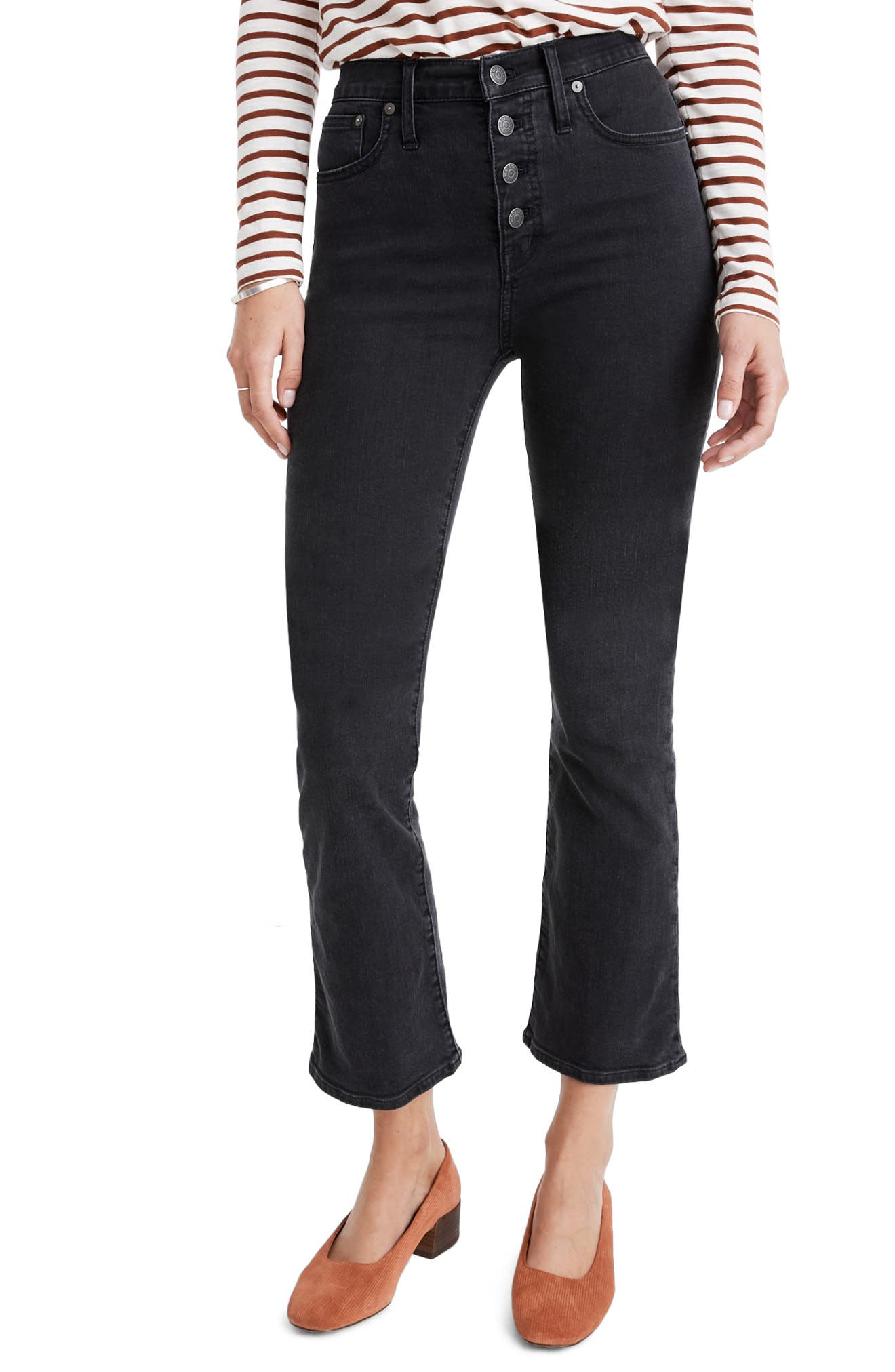 Madewell Cali Button-Front Edition Demi-Boot Jeans (Bellspring Wash) (Regular & Plus Size)