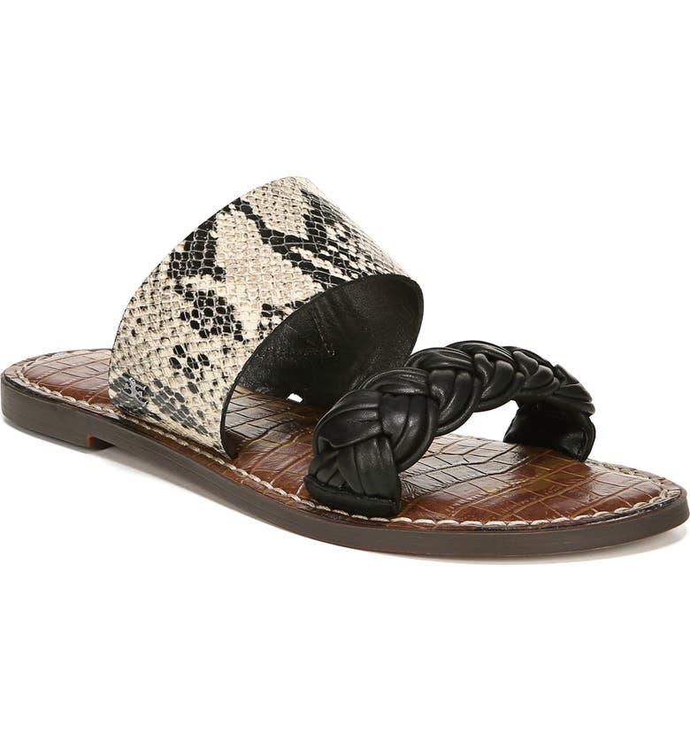 SAM EDELMAN Gage Slide Sandal, Main, color, BEACH MULTI/ BLACK LEATHER