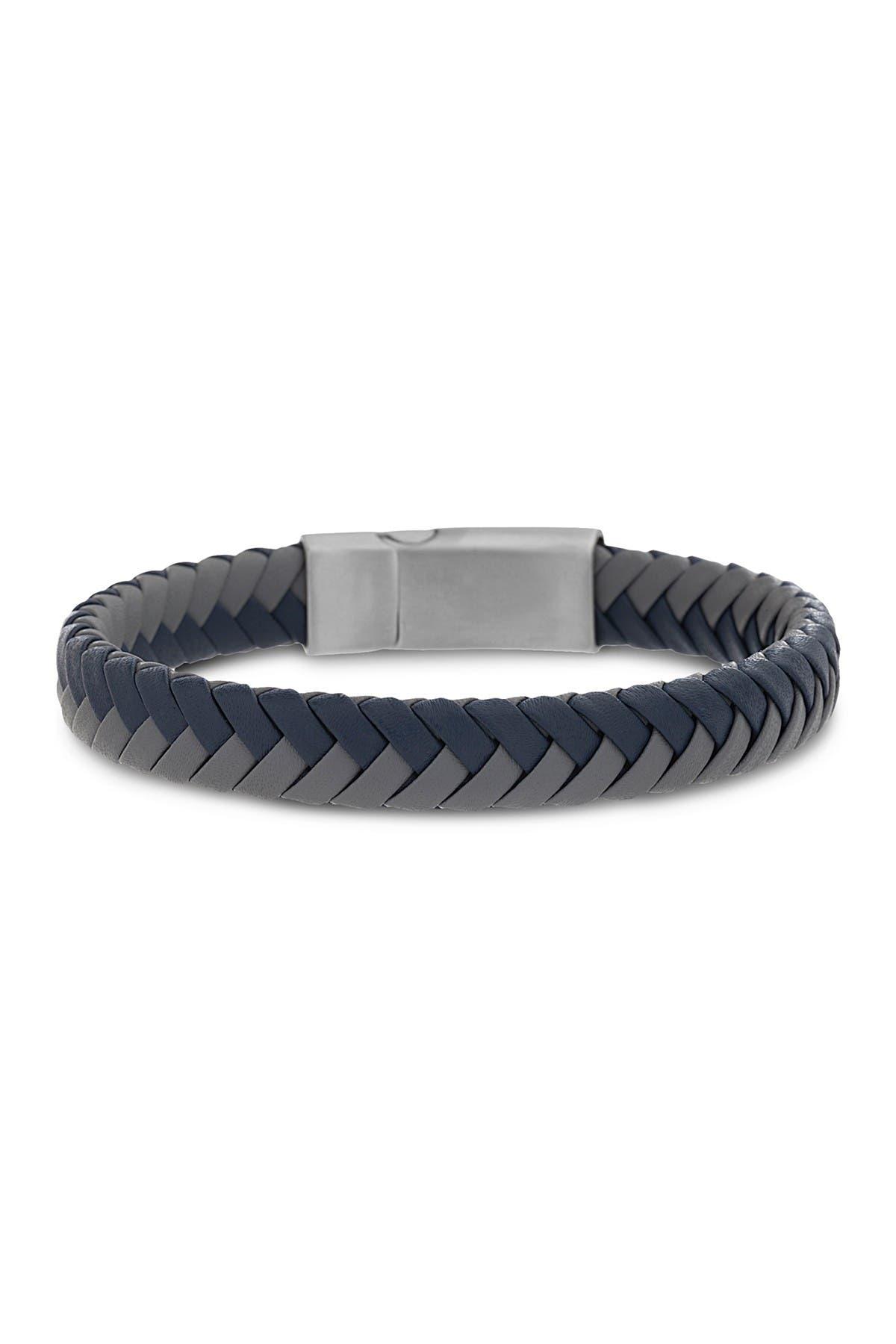 Image of Steve Madden Blue and Grey Braided Leather Bracelet