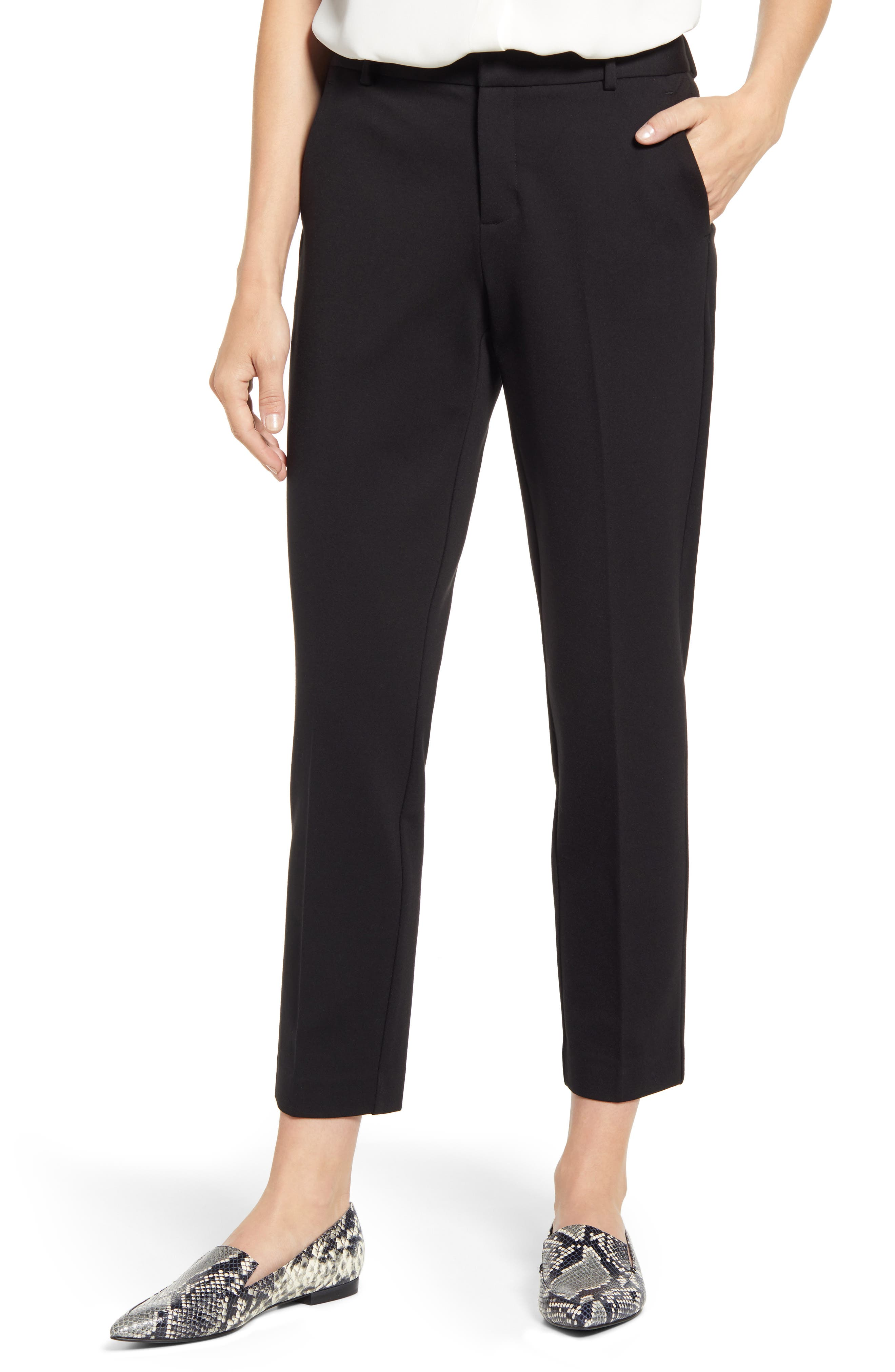 Vince Camuto Slim Leg Tech Ponte Ankle Pants (Regular & Petite)