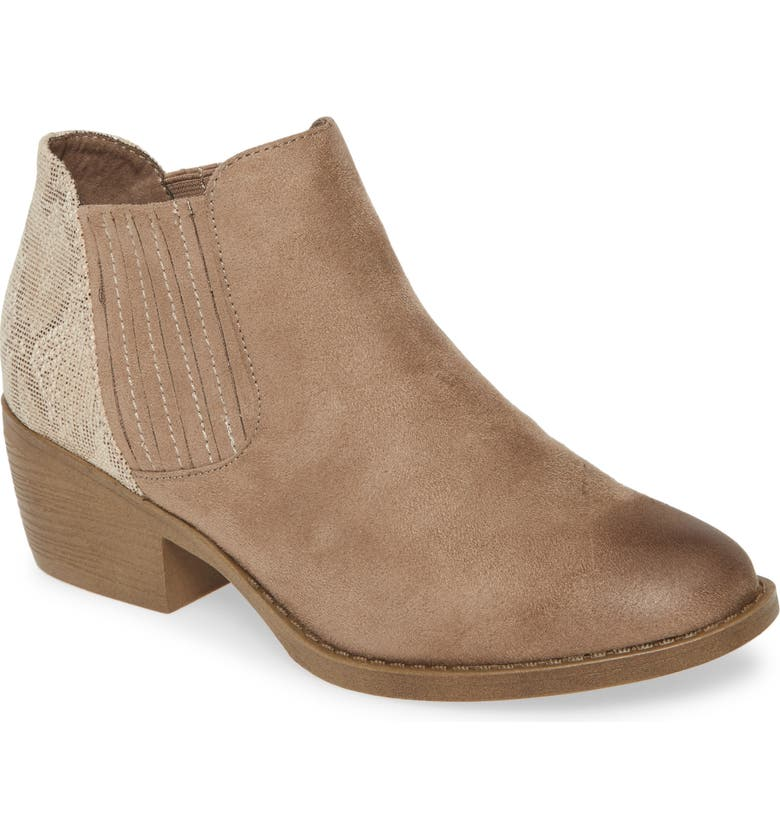 BC FOOTWEAR Preach Vegan Bootie, Main, color, TAUPE/ NATURAL EXOTIC FABRIC