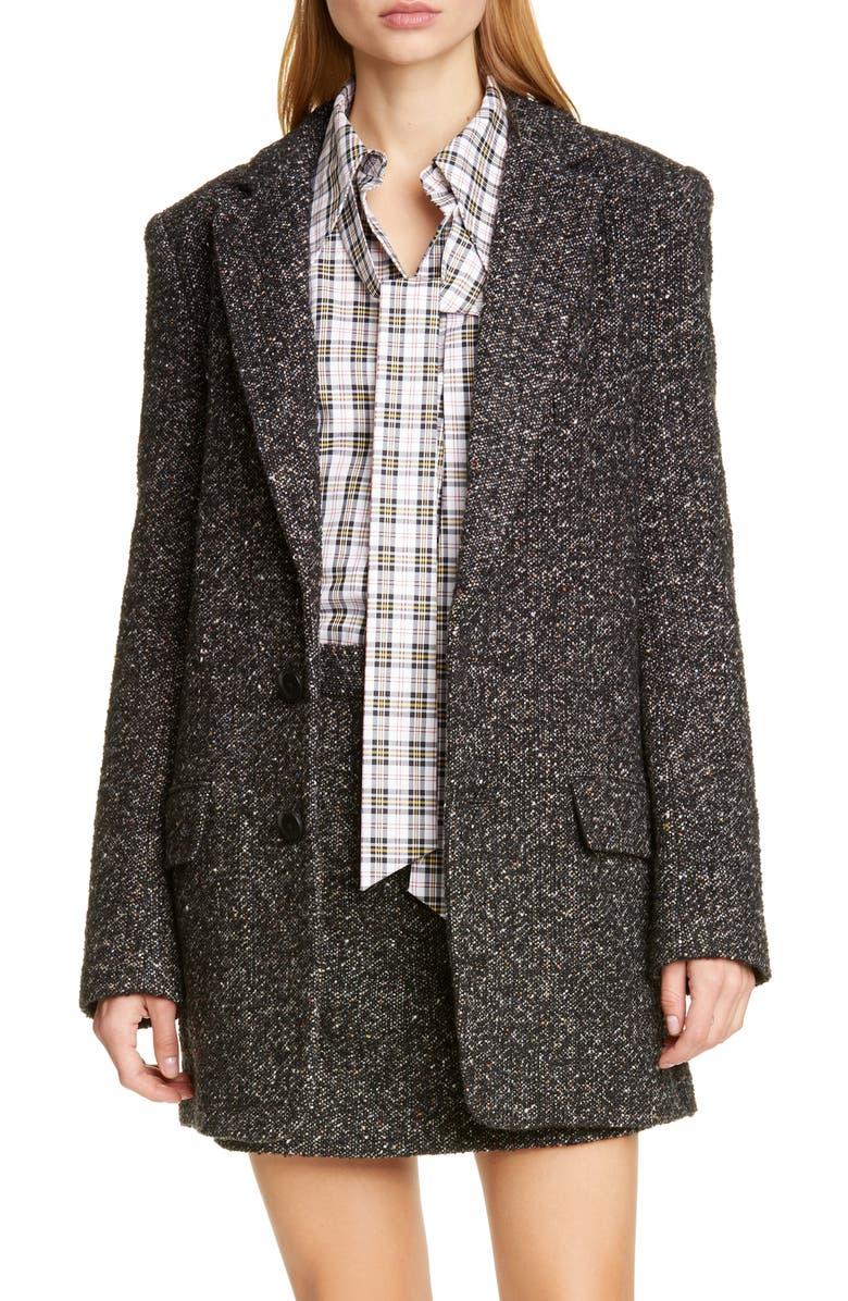 TIBI Multicolor Tweed Long Blazer, Main, color, BLACK MULTI