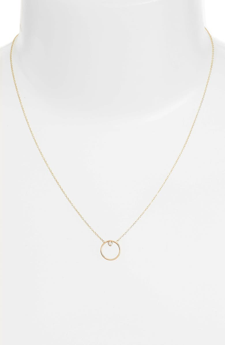 ZOË CHICCO Diamond Circle Necklace, Main, color, YELLOW GOLD