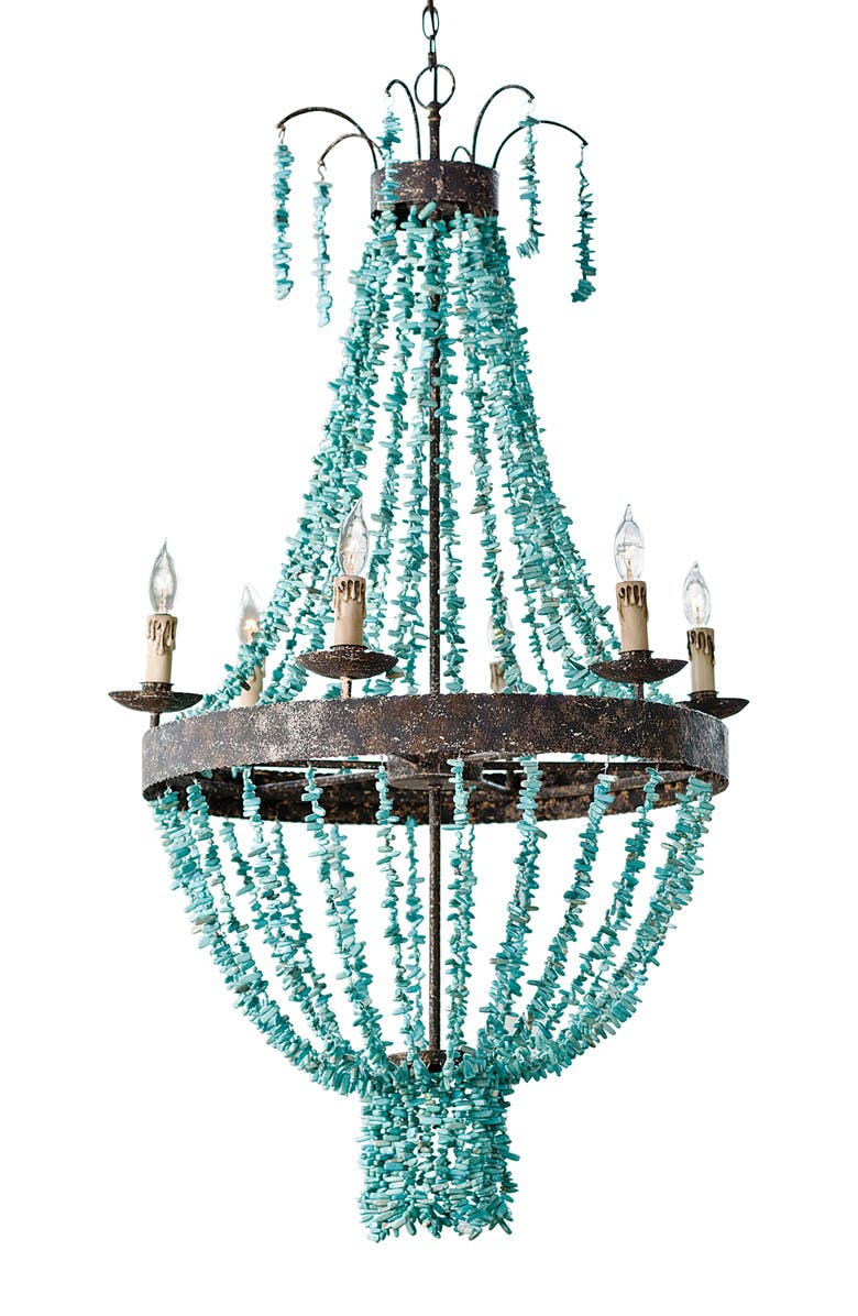 REGINA ANDREW DESIGN Turquoise Beaded Chandelier, Main, color, BLUE