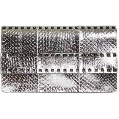 Valentino Garavani Rockstud Metallic Genuine Snakeskin Clutch - Metallic (Nordstrom Exclusive)