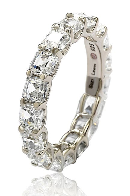 Image of Suzy Levian Sterling Silver CZ White Modern Eternity Band