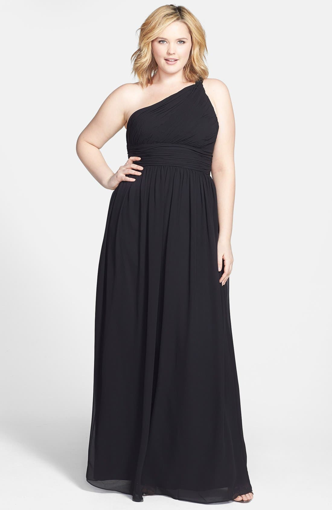 ,                             'Rachel' Ruched One-Shoulder Chiffon Gown,                             Alternate thumbnail 4, color,                             001