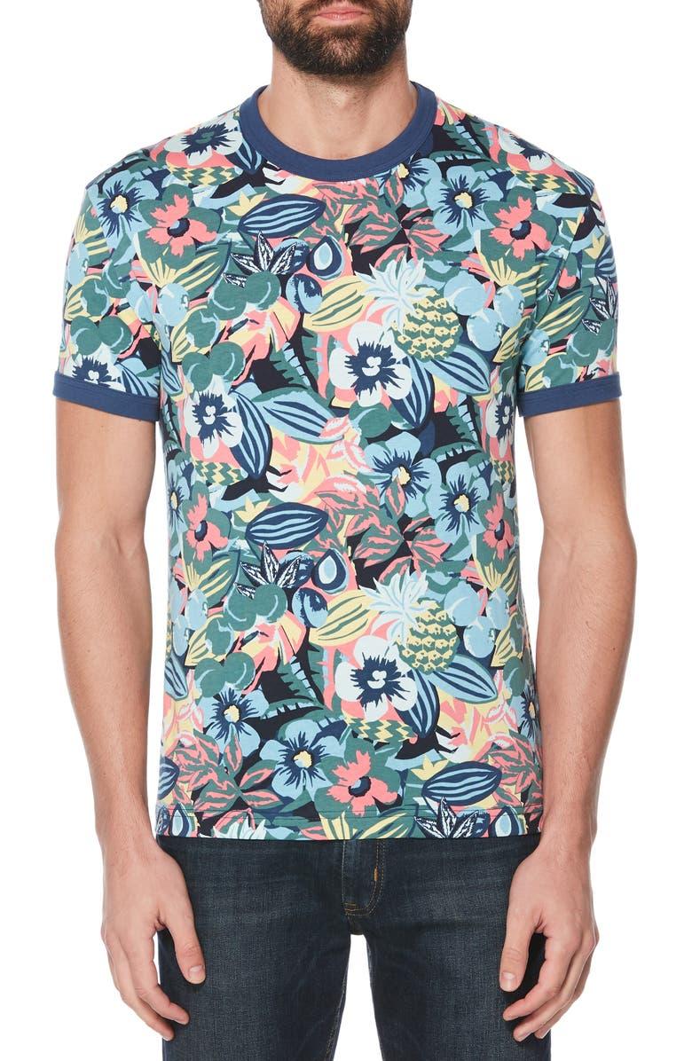 ORIGINAL PENGUIN Floral Print Ringer T-Shirt, Main, color, SARGASSO SEA