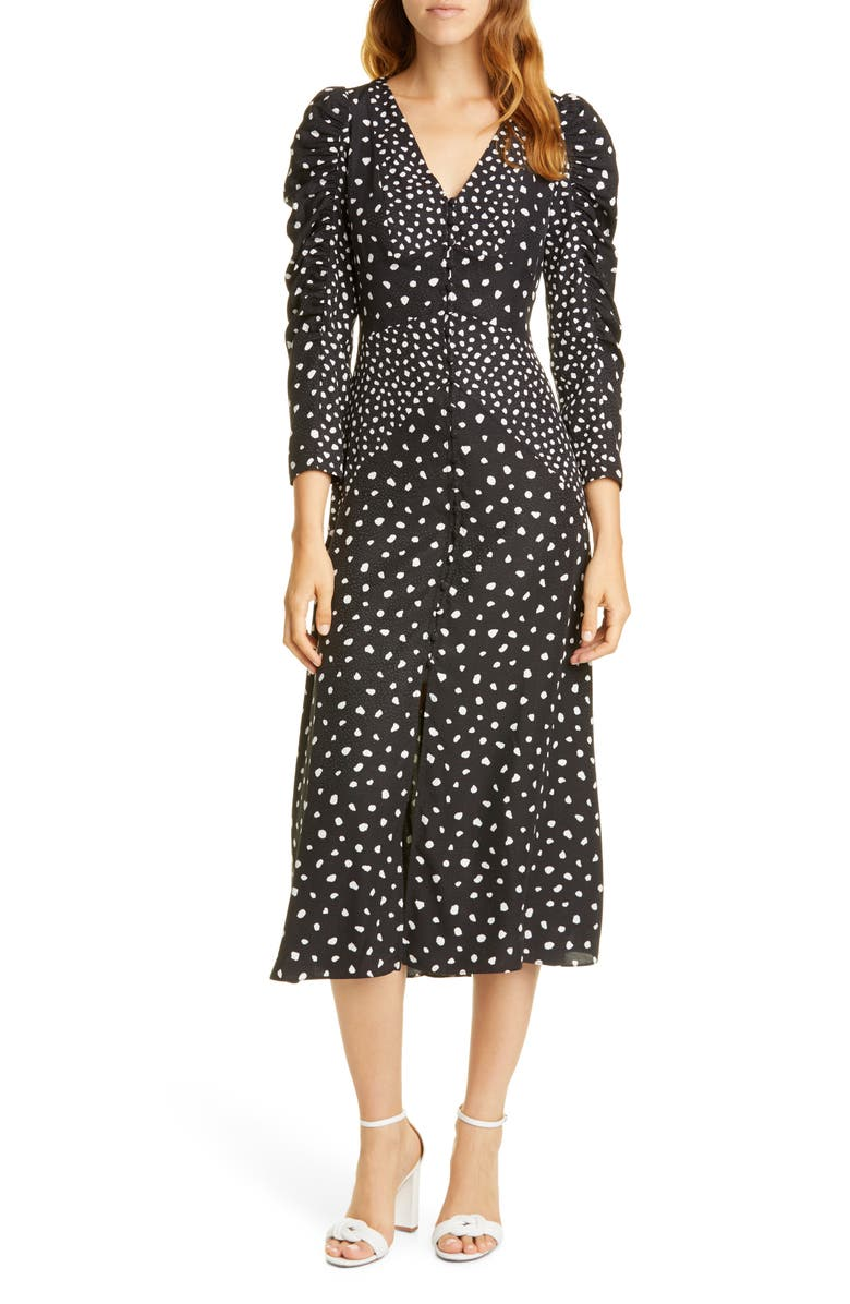 REBECCA TAYLOR Dot Print Silk Blend Dress, Main, color, BLACK