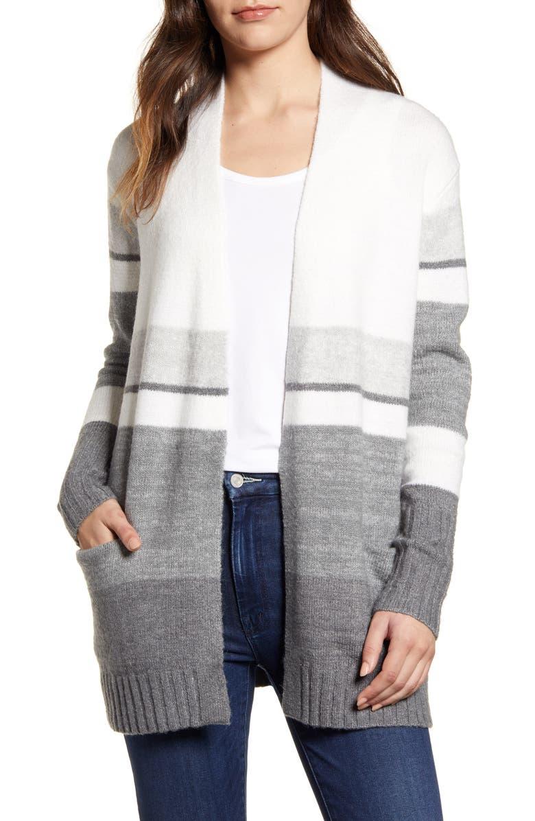 CASLON<SUP>®</SUP> Open Front Pocket Cardigan, Main, color, GREY MULTI KELSIE STRIPE