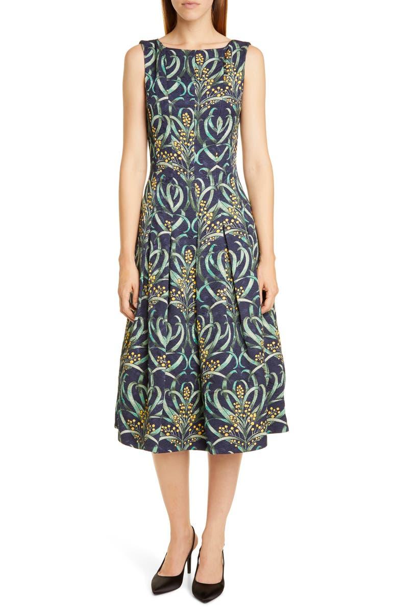 OSCAR DE LA RENTA Mimosa Stems Cloqué Fit & Flare Dress, Main, color, NAVY