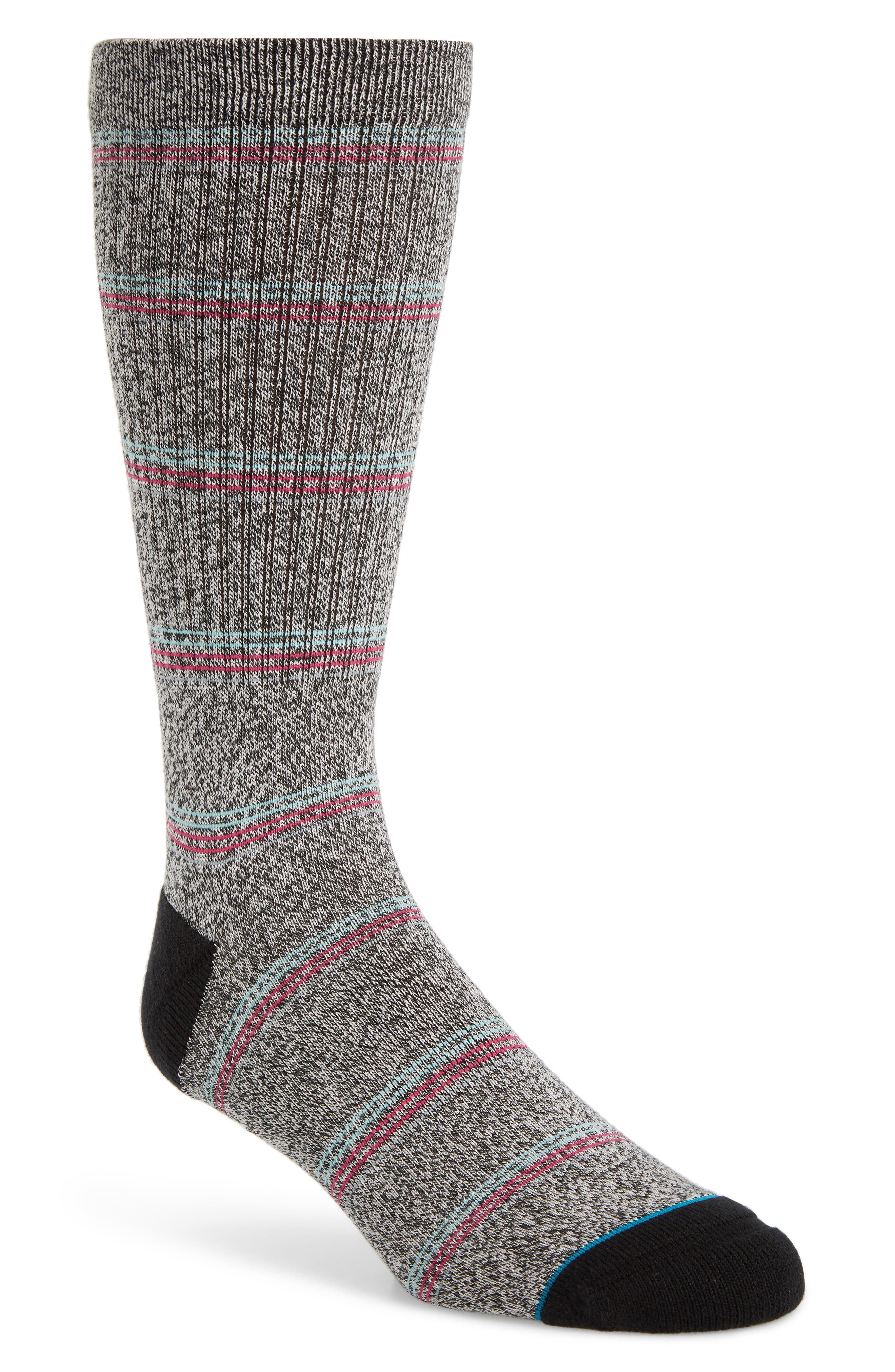 Saguaro Crew Socks, Main, color, BLACK
