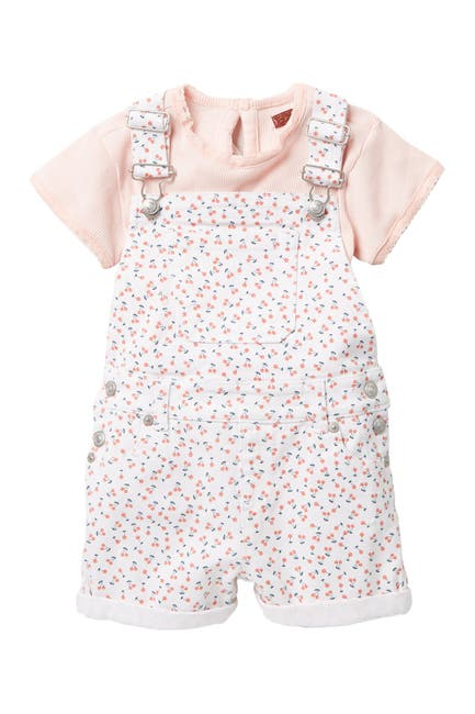 Image of 7 For All Mankind Floral Print Shortall & T-Shirt Set