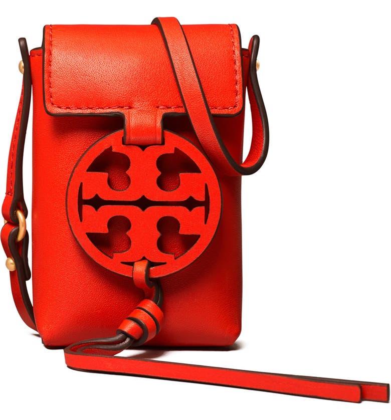TORY BURCH Nano Miller Leather Crossbody Bag, Main, color, BRIGHT SAMBA