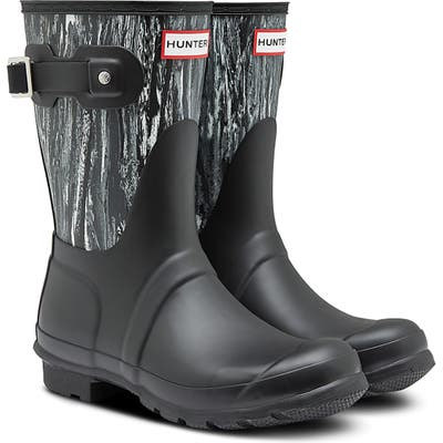 Hunter Original Short Marble Waterproof Rain Boot, Black