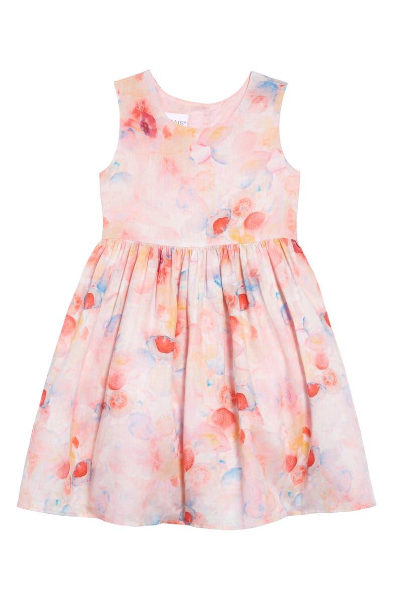 FRAIS Print Linen Dress, Main, color, CORAL