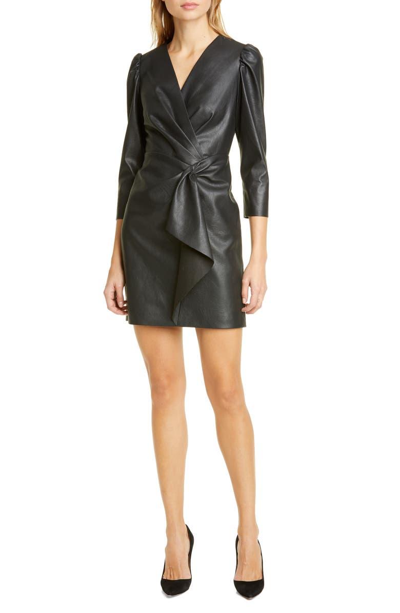 REBECCA TAYLOR Faux Leather Dress, Main, color, BLACK