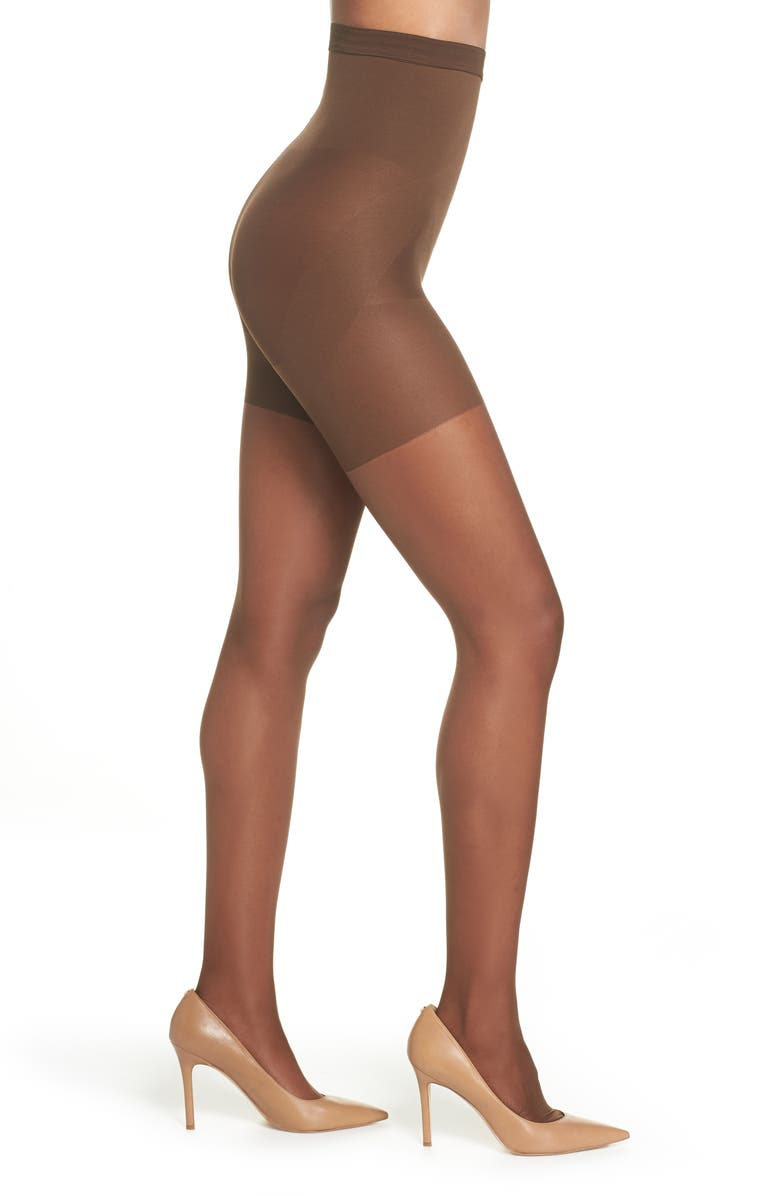 NORDSTROM Naked Sheer Control Top High Waist Pantyhose, Main, color, MAHOGANY