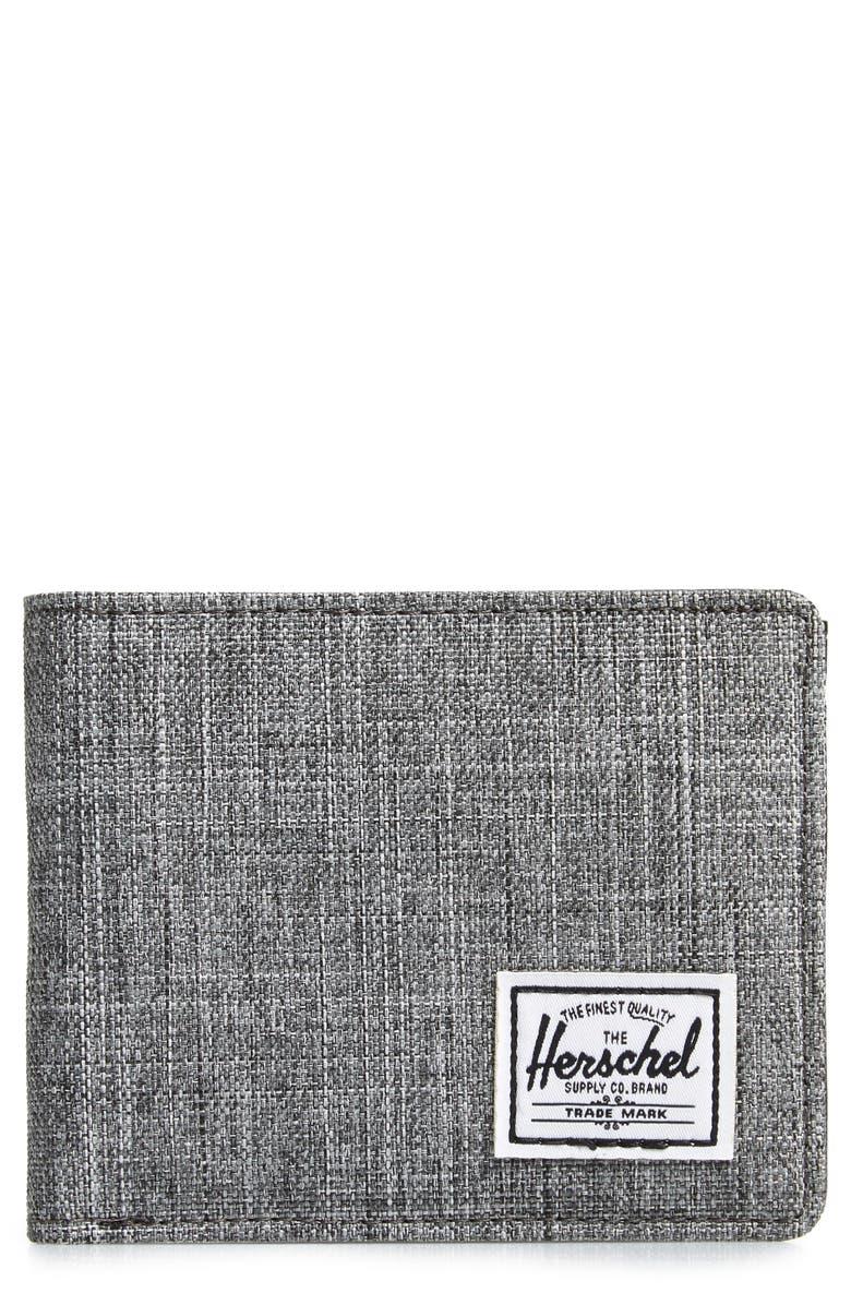 HERSCHEL SUPPLY CO. Hank RFID Bifold Wallet, Main, color, RAVEN CROSSHATCH