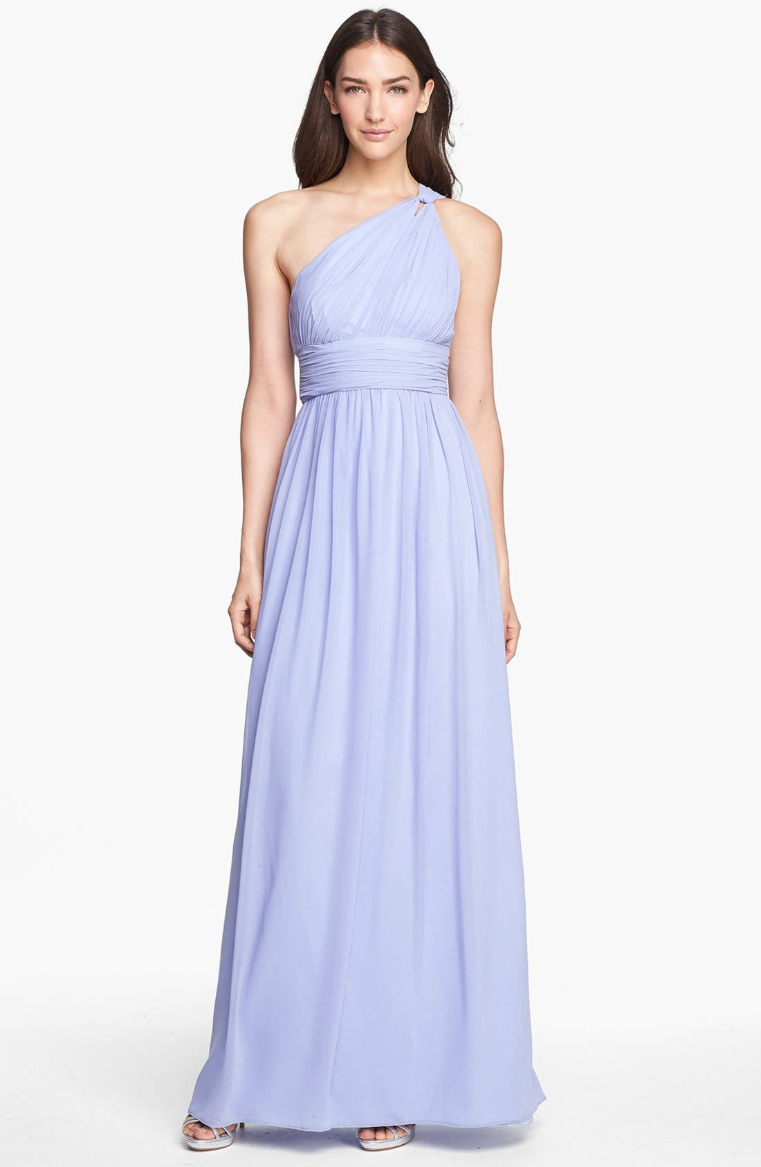 ,                             'Rachel' Ruched One-Shoulder Chiffon Gown,                             Main thumbnail 89, color,                             527