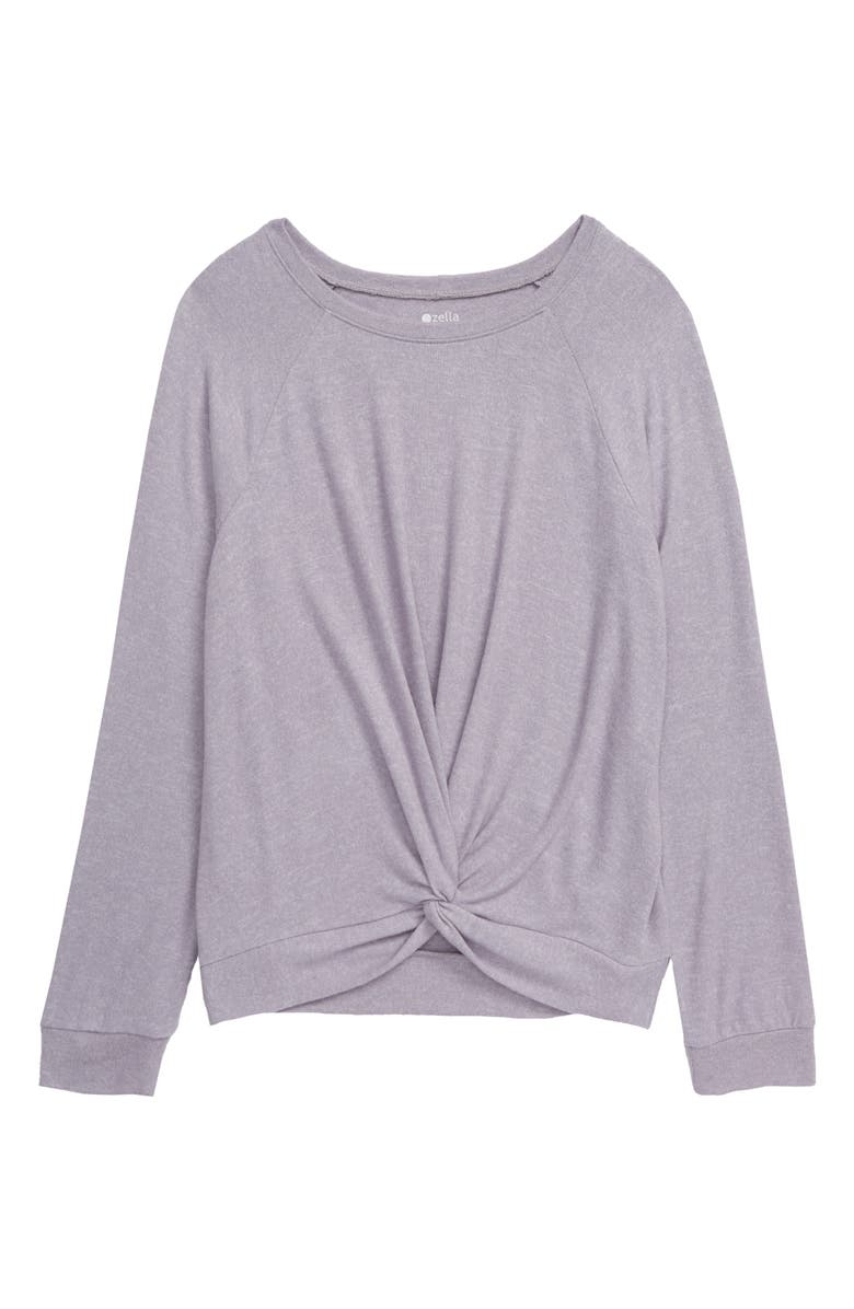 ZELLA GIRL Supersoft Twist Top, Main, color, GREY LILAC HEATHER