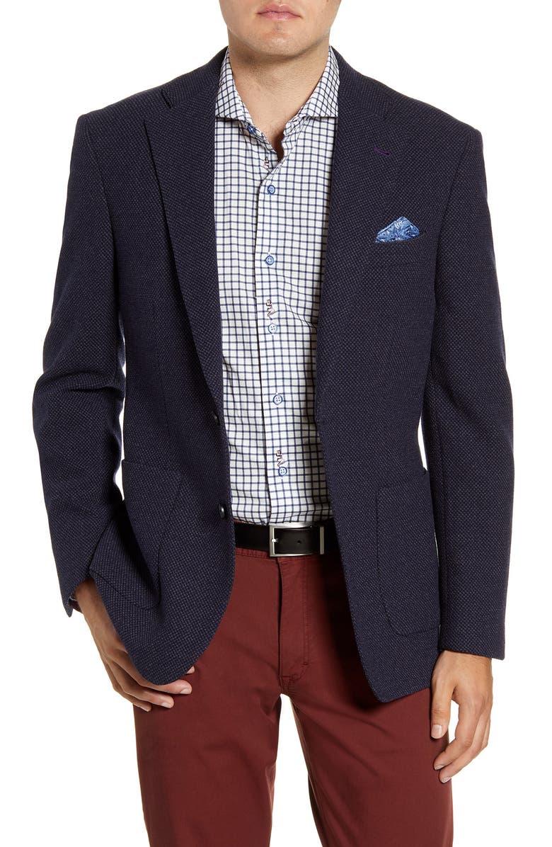 ROBERT GRAHAM Clark Regular Fit Wool Blend Sport Coat, Main, color, NAVY