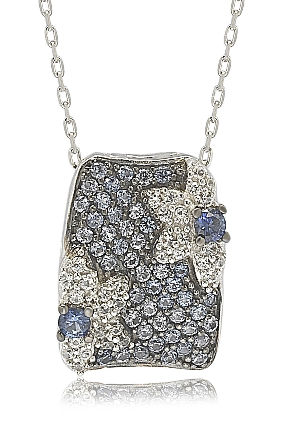 Image of Suzy Levian Sterling Silver Blue Sapphire, Lab Created White Sapphire, & Brown Diamond Floral Pendant Necklace