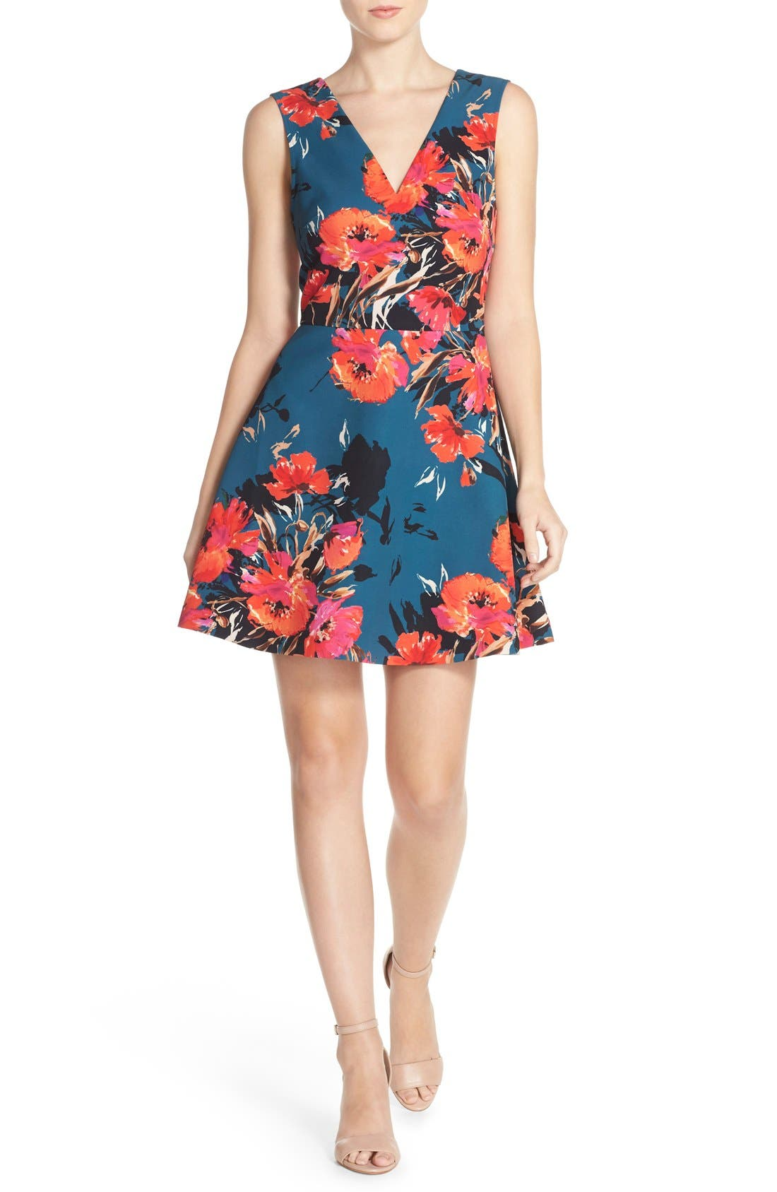 ,                             Bianca Back Cutout Fit & Flare Dress,                             Alternate thumbnail 45, color,                             421