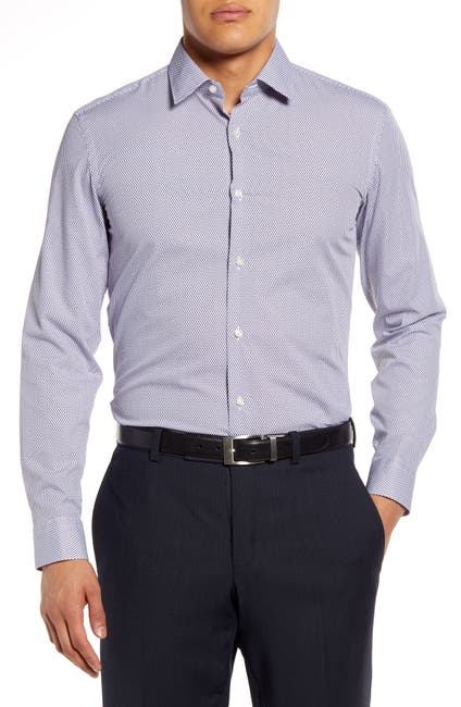 Image of BOSS Diamond Print Slim Fit Dress Shirt